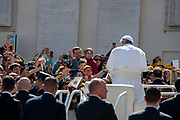 Vatican City - MARCH 06, 2019: Pope Francis walking out at the end of his weekly general audience in St. Peter's Square at the Vatican.