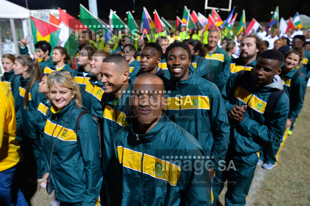 DURBAN, SOUTH AFRICA - JUNE 21: Keagan Fourie (high jumper) walks into the stadium with his team mates during the CAA 20th African Senior Championships Opening Ceremony at Growth Point Kings Park stadium on June 21, 2016 in Durban, South Africa. (Photo by Roger Sedres/Gallo Images)