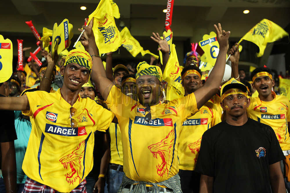 Fans during match 47 of the Pepsi IPL 2015 (Indian Premier League) between The Chennai Superkings and The Rajasthan Royals held at the M. A. Chidambaram Stadium, Chennai Stadium in Chennai, India on the 10th May 2015.<br /> <br /> Photo by:  Saikat Das / SPORTZPICS / IPL