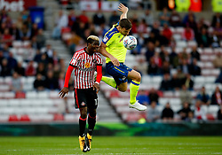 Didier Ndong of Sunderland challenges Chris Martin of Derby County - Mandatory by-line: Matt McNulty/JMP - 04/08/2017 - FOOTBALL - Stadium of Light - Sunderland, England - Sunderland v Derby County - Sky Bet Championship