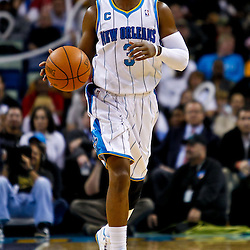 December 8, 2010; New Orleans, LA, USA; New Orleans Hornets point guard Chris Paul (3) against the Detroit Pistons during a game at the New Orleans Arena. The Hornets defeated the Pistons 93-74. Mandatory Credit: Derick E. Hingle