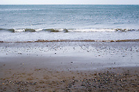 Stoney beach at Bray in Wicklow Ireland in the winter