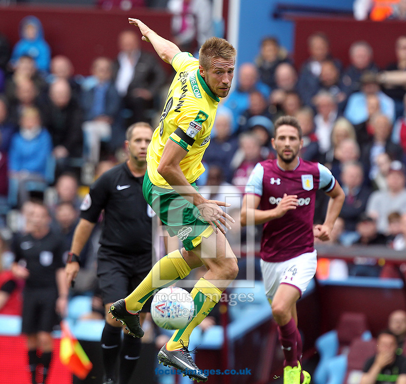 Marco Stiepermann of Norwich in action during the Sky Bet Championship match at Villa Park, Birmingham<br /> Picture by Paul Chesterton/Focus Images Ltd +44 7904 640267<br /> 19/08/2017