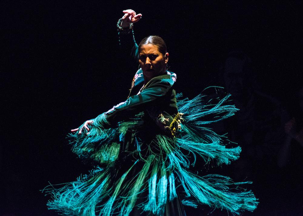 Performance of 'Soleá por bulería' by Ballet Flamenco Sara Baras' 'Voces, Suite Flamenca' as part of the Flamenco Festival London 2016 held at Sadler's Wells