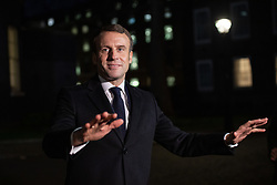 © Licensed to London News Pictures. 03/12/2019. London, UK. French President Emmanuel Macron speaks to media after leaving 10 Downing Street following a meeting with UK Prime Minister Boris Johnson. International leaders are visiting the UK for to mark the 70th anniversary of the North Atlantic Treaty Organisation (NATO) Photo credit : Tom Nicholson/LNP