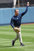LOS ANGELES - MAY 03:  Manager Bud Black #20 of the San Diego Padres plays catch before the game against the Los Angeles Dodgers at Dodger Stadium on Sunday, May 3, 2009 in Los Angeles, California.  The Dodgers won their 10th straight home game while defeating the Padres 7-3.  (Photo by Paul Spinelli/MLB Photos) *** Local Caption *** Bud Black