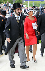 Sheikh Mohammed bin Rashid al Maktoum, the Prime Minister and Vice President of the United Arab Emirates and his wife Princess Haya of Jordan<br /> at the Epsom Derby in Epsom, England, Saturday 1st June 2013 Picture by Stephen Lock / i-Images
