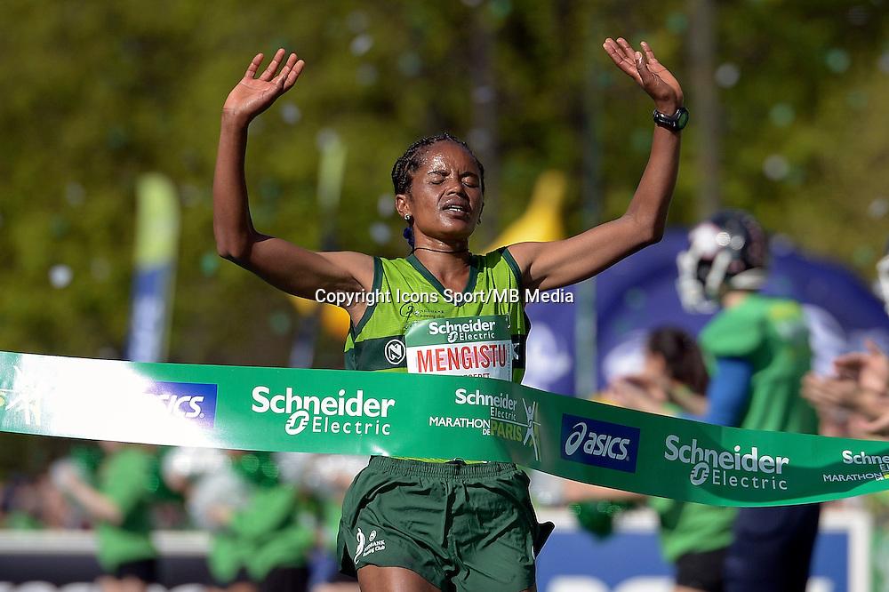 Meseret Mengistu - 12.04.2015 - Marathon de Paris 2015<br />Photo :  Andre Ferreira  / Icon Sport