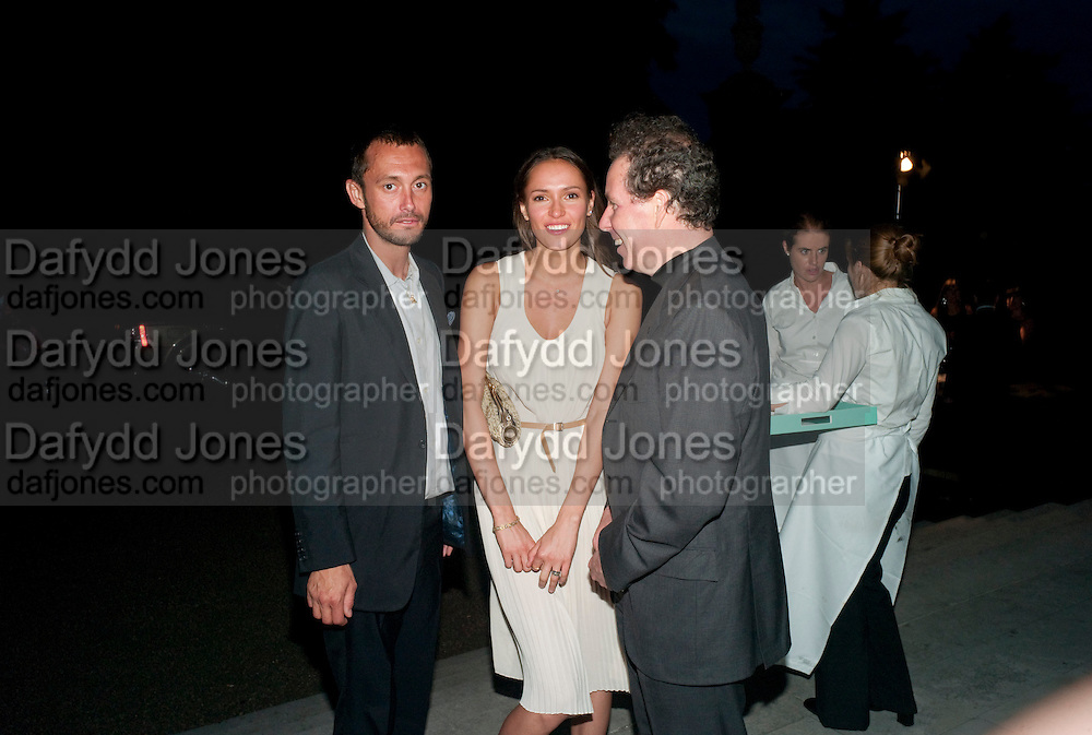Sasha Volkova; Dan Macmillan; Viscount Linley Alexandra Shulman, Editor of Vogue & Phil Popham, Managing Director of Land Rover<br /> host the 40th Anniversary of Range Rover. The Orangery at Kensington Palace. London. 1 July 2010. -DO NOT ARCHIVE-© Copyright Photograph by Dafydd Jones. 248 Clapham Rd. London SW9 0PZ. Tel 0207 820 0771. www.dafjones.com.
