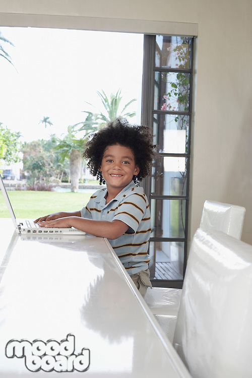 Boy (5-6 years) using laptop in dining room portrait