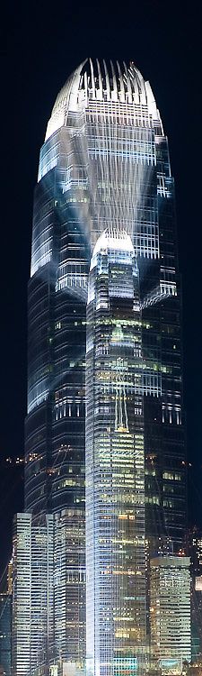 long (6 second) exposure of Two IFC building in Central Hong Kong with zoom burst during exposure