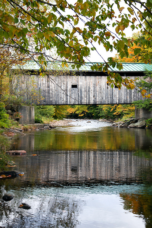 Belvidere, Vermont: The Morgan covered bridge.<br /> From Wikipedia: The Morgan Covered Bridge, also known as the Upper Covered Bridge, is a wooden covered bridge that crosses the Lamoille River in Belvidere, Vermont, on Morgan Bridge Road. It was listed on the National Register of Historic Places in 1974.  The bridge is of Queen post design built by Lewis Robinson, Charles Leonard and Fred Tracy.