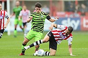 Forest Green Rovers Jack Aitchison(29), on loan from Celtic and Exeter City's Aaron Martin(5) during the EFL Sky Bet League 2 match between Exeter City and Forest Green Rovers at St James' Park, Exeter, England on 12 October 2019.