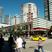 The corner of Nelson and Granville streets in the Yaletown neighbourhood of downtown Vancouver BC, Canada.
