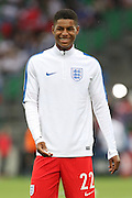 England Forward Marcus Rashford warm up during the Euro 2016 Group B match between Slovakia and England at Stade Geoffroy Guichard, Saint-Etienne, France on 20 June 2016. Photo by Phil Duncan.