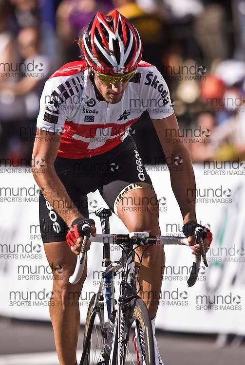 (Geelong, Australia---03 October 2010) Fabian CANCELLARA of Switzerland racing in the elite men's road race in the 2010 UCI Road World Championships, held in Geelong, Victoria, Australia. Photograph 2010 copyright Sean Burges / Mundo Sport Images