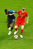 SAINT PETERSBURG, RUSSIA - JULY 10: Blaise Matuidi (L) of France national team and Kevin De Bruyne of Belgium national team vie for the ball during the 2018 FIFA World Cup Russia Semi Final match between France and Belgium at Saint Petersburg Stadium on July 10, 2018 in Saint Petersburg, Russia. MB Media