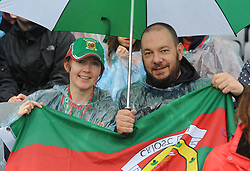 Pam Tighe and Mark Garavan from Belmullet Under the Brolly showing their support for Mayo at the All Ireland Semi Final against Kerry at Croke Park.<br /> Pic Conor McKeown