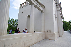 "© London News Pictures. 05/06/2013. London, UK. Repair work being carried out (bottom left) on the The RAF Bomber Command Memorial in London's Green Park which has been vandalised for a second time. Last week the word ""Islam"" was sprayed onto the memorial in the aftermath of the killing of Drummer Lee Rigby in Woolwich.. Photo credit: Ben Cawthra/LNP"