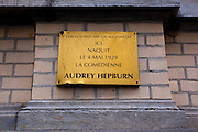 Birthplace of actor and humanitarian Audrey Hepburn, 48 Rue Keyenveld, Ixelles Brussels. She also lived at nearby Chaussée d'Ixelles (No. 314). Born Audrey Kathleen Ruston, she grew up in several countries, including WWII Netherlands, before ending up in the US. Although best known for her roles in Hollywood movies, she also worked extensively with UNICEF.