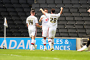 MK Dons striker Nicky Maynard celebrates scoring during the Sky Bet Championship match between Milton Keynes Dons and Nottingham Forest at stadium:mk, Milton Keynes, England on 7 May 2016. Photo by Dennis Goodwin.
