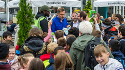 Pictured: David Walliams was the centre of attention today at the Edinburgh Book Festival as classes of school students decended on Charlotte Square to meet the author<br /> <br /> David Edward Williams OBE, known professionally as David Walliams, is a British comedian, actor, author, and presenter known for his partnership with Matt Lucas on the BBC One sketch show Little Britain