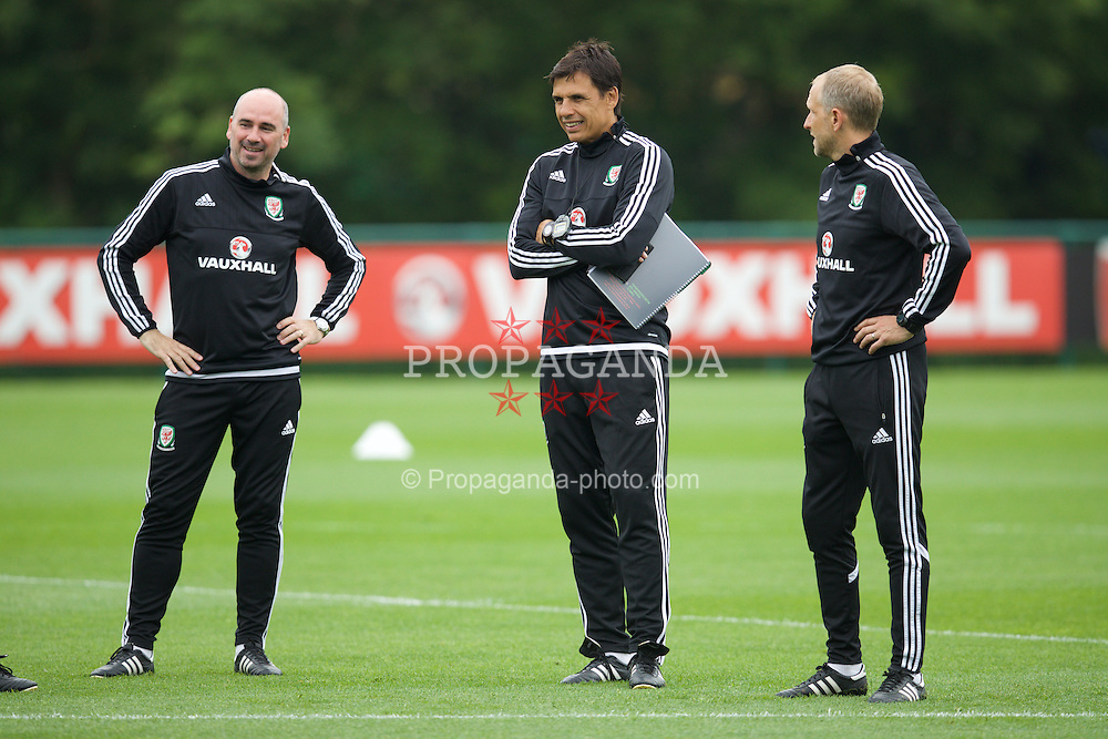 CARDIFF, WALES - Saturday, June 4, 2016: Wales' performance psychologist Ian Mitchall manager Chris Coleman and coach Paul Trollope during a training session at the Vale Resort Hotel ahead of the International Friendly match against Sweden. (Pic by David Rawcliffe/Propaganda)