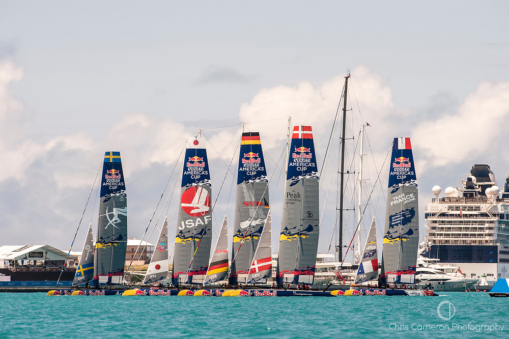 Great Sound, Bermuda. 15th June 2017. Red Bull Youth America's Cup. Start of race 2 of Qualifier 2 (Group A)