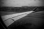 awaiting takeoff during a storm at National Airport, Washington, DC
