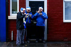Everton fans in Santa hats enjoy some prematch food outside Goodison Park ahead of their side's fixture against Tottenham Hotspur - Mandatory by-line: Robbie Stephenson/JMP - 23/12/2018 - FOOTBALL - Goodison Park - Liverpool, England - Everton v Tottenham Hotspur - Premier League