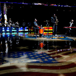 January 4, 2012; New Orleans, LA, USA; I-Club band performs the national anthem prior to tip off of a game between the New Orleans Hornets and the Philadelphia 76ers at the New Orleans Arena.   Mandatory Credit: Derick E. Hingle-USA TODAY SPORTS