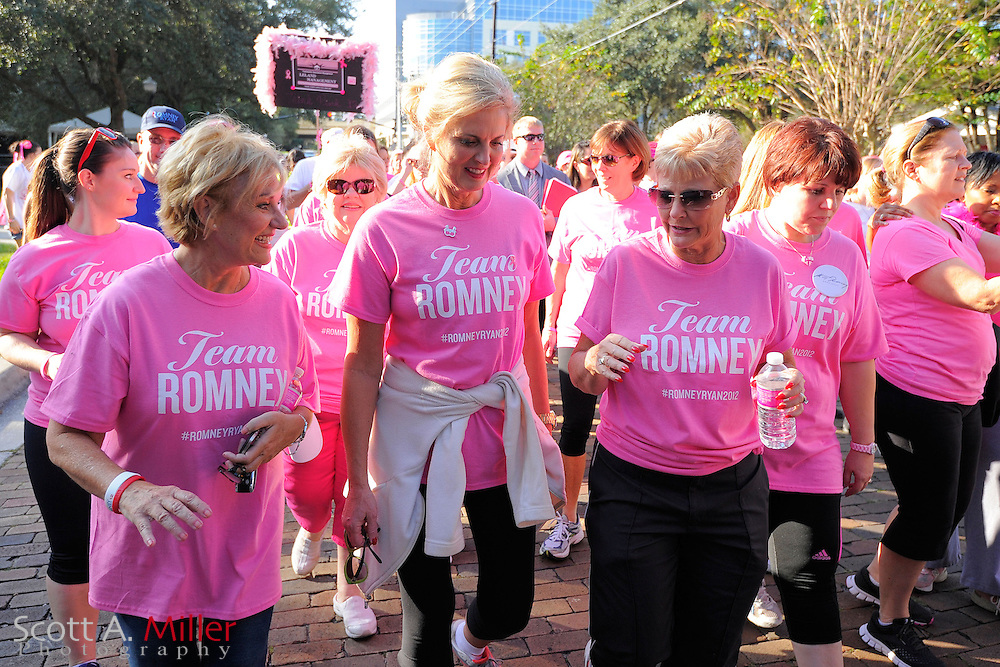 """Ann Romney, wife of U.S. Republican presidential nominee and former Massachusetts Governor Mitt Romney, takes part in the """"Making Strides Against Breast Cancer 5k"""" event in Orlando, Florida October 20, 2012...©2012 Scott A. Miller"""