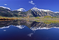 Reflections of 13,333 ft. Twin Peaks and Mount Hope in Twin Lakes.  Sawatch Range, Colorado.