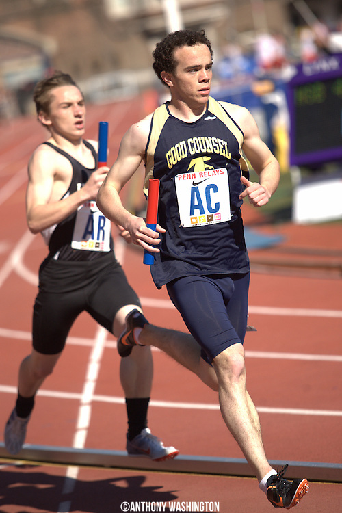Thomas Tallerico of Good Counsel High School in Olney, MD runs the second leg of the 4x800 during a High School Boys' 4x800 Small Schools heat at the Penn Relays athletic meet on Friday, April 29, 2011 in Philadelphia, PA.