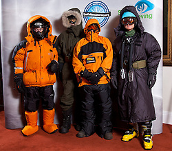 © Licensed to London News Pictures. 17/09/2012. London, United Kingdom ..(L-R) The Ice Team, Brian Newham, Sir Ranulph Fiennes, Spencer Smirl and Ian Prickett..Press call to announce Sir Ranulph Fiennes will be leading a team to take on the last remaining polar challenge by attempting to cross Antarctica in winter, the coldest journey on Earth...Photo credit : Chris Winter/LNP
