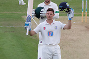 100 - Cameron Bancroft acknowledges the crowd on reaching 100 during the Specsavers County Champ Div 2 match between Leicestershire County Cricket Club and Durham County Cricket Club at the Fischer County Ground, Grace Road, Leicester, United Kingdom on 8 July 2019.