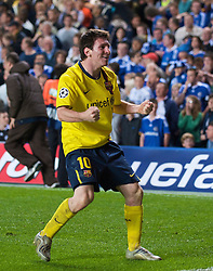 LONDON, ENGLAND - Wednesday, May 6, 2009: Barcelona's Lionel Messi celebrates a dramatic injury time winning away goal against Chelsea during the UEFA Champions League Semi-Final 2nd Leg match at Stamford Bridge. (Photo by David Rawcliffe/Propaganda)