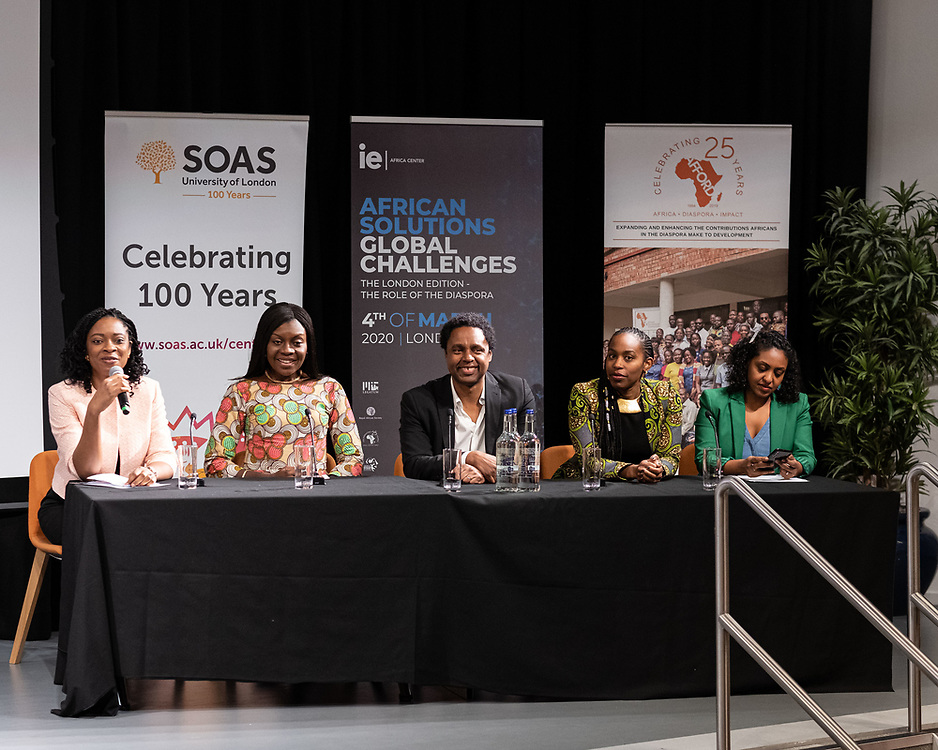 """On March 4th 2020 in partnership with the SOAS University of London, the Royal African Society, the African Foundation for Development (AFFORD), and the MIT Legatum Center for Development and Entrepreneurship, the IE Africa Center will be hosting the fourth edition of its flagship event, African Solutions, Global Challenges in London, entitled """"The Role of the Diaspora"""". Delivered through a series of TED talk style presentations, this event will focus on the ways in which African executives and entrepreneurs in the diaspora are shaping the continent's economic and cultural future through investment, technology and art. London, 4th March, 2020. (Photos/Ivan Gonzalez)"""