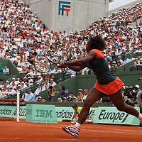 3 June 2009: Serena Williams of USA hits a backhand during the Women's single quarter final match on day eleven of the French Open at Roland Garros in Paris, France.