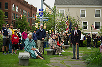 The crowd fills Veteran's Square following the parade for Laconia's Memorial Day services Monday morning.   (Karen Bobotas/for the Laconia Daily Sun)