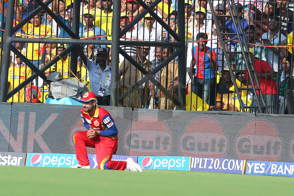 Iqbal Abdullah of the Royal Challengers Bangalore takes the catch to dismiss Brendon McCullum of the Chennai Superkings  during match 37 of the Pepsi IPL 2015 (Indian Premier League) between The Chennai Superkings and The Royal Challengers Bangalore held at the M. A. Chidambaram Stadium, Chennai Stadium in Chennai, India on the 4th May April 2015.<br /> <br /> Photo by:  Ron Gaunt / SPORTZPICS / IPL