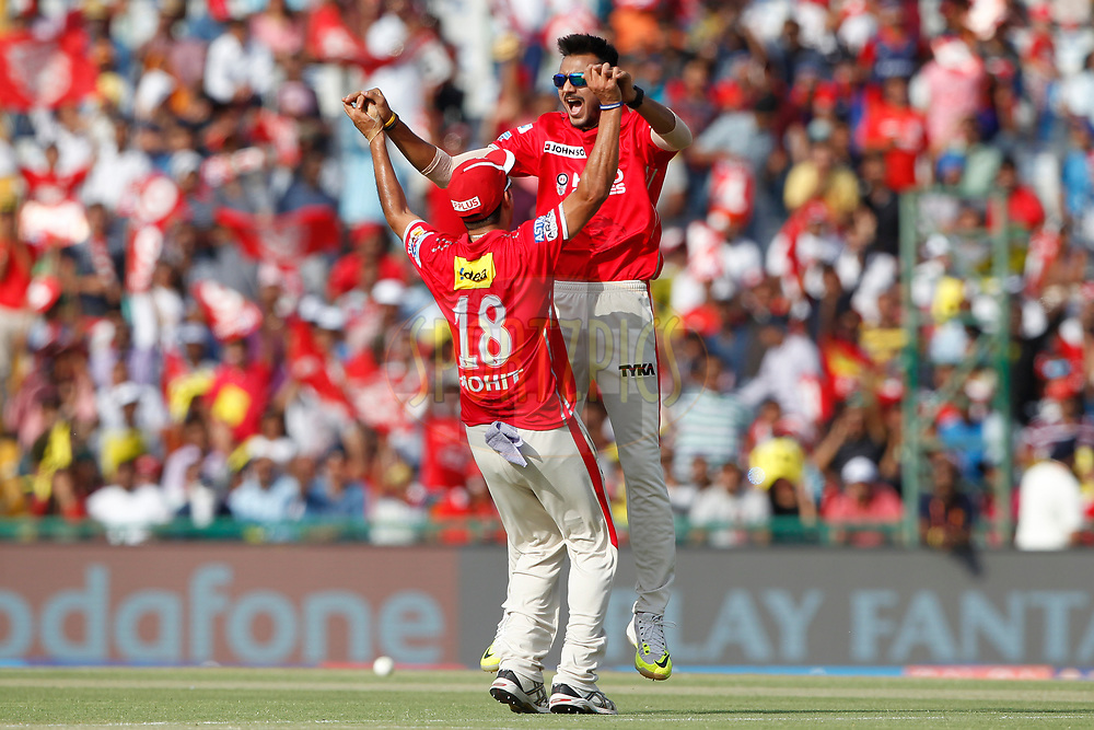 Akshar Patel and Mohit Sharma of Kings XI Punjab celebrates the wicket ofDelhi Daredevils captain Karun Nair during match 36 of the Vivo 2017 Indian Premier League between the Kings XI Punjab and the Delhi Daredevils  held at the Punjab Cricket Association IS Bindra Stadium in Mohali, India on the 30th April 2017<br /> <br /> Photo by Deepak Malik - Sportzpics - IPL