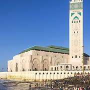 View on seafront of Grande Mosque Hassan II in Casablanca, Morocco