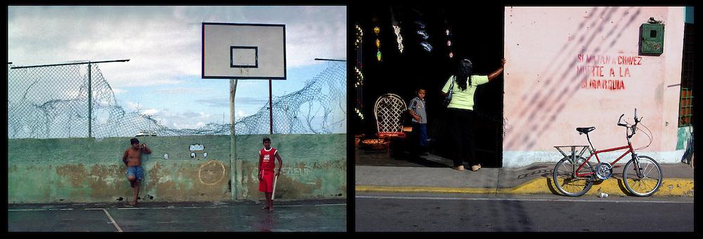 DAILY VENEZUELA II / VENEZUELA COTIDIANA II<br /> Photography by Aaron Sosa <br /> <br /> Left: Abandoned field in the Archipelago of Los Roques - Venezuela 2005 / Cancha abandonada en el Archipielago de Los Roques - Venezuela 2005<br /> <br /> Right: Guasdualito, Apure State - Venezuela 2007 / Guasdualito, Estado Apure - Venezuela 2007<br /> <br /> (Copyright © Aaron Sosa)