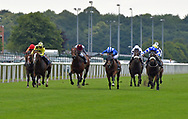 Classic Seniority ridden by Daniel Tudhope (blue and white spots) wins Win Bigger With Betfair Classified Stakes during the Racing Welfare Charity Raceday meeting at Doncaster Racecourse, Doncaster<br /> Picture by Martin Lynch/Focus Images Ltd 07501333150<br /> 07/07/2017