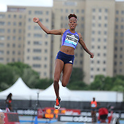Shara Proctor, Great Britain and NI,  finishing third in the Women's long Jump competiton with a jump of 6.72m during the Diamond League Adidas Grand Prix at Icahn Stadium, Randall's Island, Manhattan, New York, USA. 13th June 2015. Photo Tim Clayton
