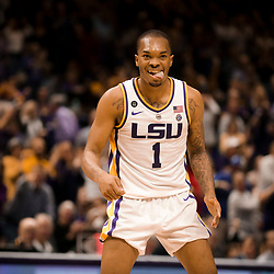 Feb 2, 2019; Baton Rouge, LA, USA; LSU Tigers guard Ja'vonte Smart (1) reacts during the second half against the Arkansas Razorbacks at the Maravich Assembly Center. Mandatory Credit: Derick E. Hingle-USA TODAY Sports