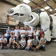 The Factory Settings  team behind the making of Aurora.  Aurora is a giant polar bear puppet, the size of a London double decker bus. The bear is the brain child of Greenpeace UK and it will be the center piece in the Greenpeace campaign Save the Arctic  global day of action in London Sept 15th. Aurora is designed by Christopher Kelly in collaboration with props designer Simon Costin and made by Factory Settings in East London.