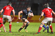 Hong Kong player Ben Axten-Burrett looking for some space in the first half during the Rugby World Cup qualifier between Hong Kong and Canada at Stade Delort, Marseilles, France on 23 November 2018. Picture by Ian  Muir.