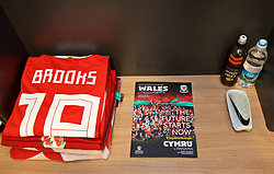 CARDIFF, WALES - Tuesday, November 14, 2017: The Wales shirt of David Brooks in the dressing room ahead of the international friendly match between Wales and Panama at the Cardiff City Stadium. (Pic by David Rawcliffe/Propaganda)